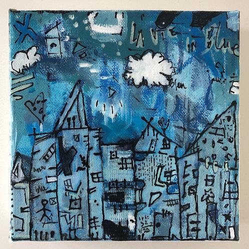 """La Vie in Blue"" (4) 6x6 acrylic on canvas"