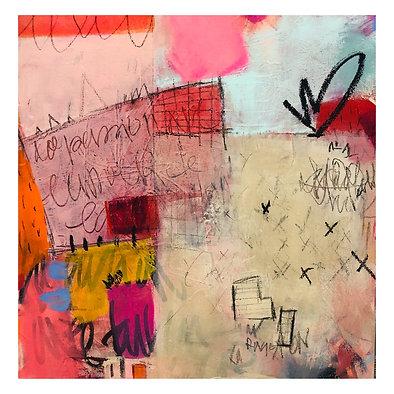 """""""Fleur d'Amour""""(2) acrylic & mixed-media on canvas"""