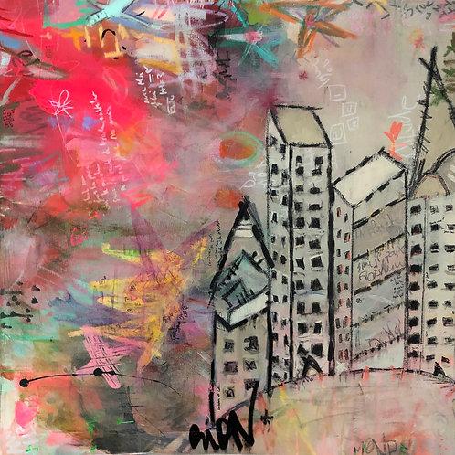 """Le Nouveau Monde"" 24x24 acrylic and mixed-media on canvas"