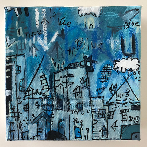 """La Vie in Blue"" (2) 6x6 acrylic on canvas"