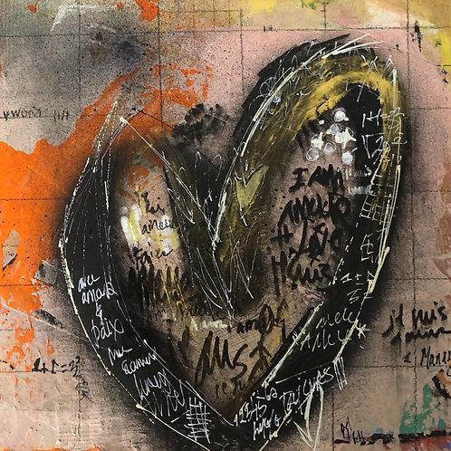 """I am Amour"" 12x12 mixed-media on wood panel"