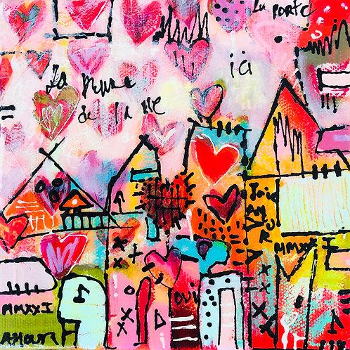"""""""Heart 2020"""" (1) 6x6 mixed-media on canvas"""