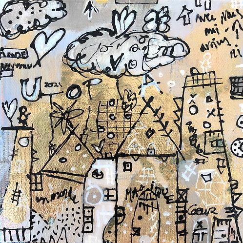"""Utopia"" (3) 6x6 mixed-media on canvas"