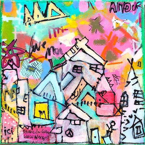 """Heart Village"" (4) 6x6 acrylic on canvas"