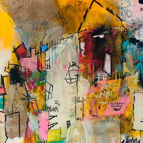 """""""J'veux du Soleil"""" 36x36 mixed-media on canvas"""