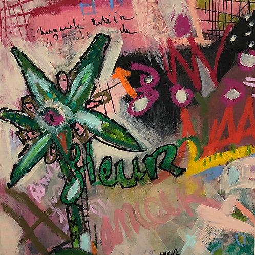 """Covid Fleur"" 6x6 mixed-media on board (1)"