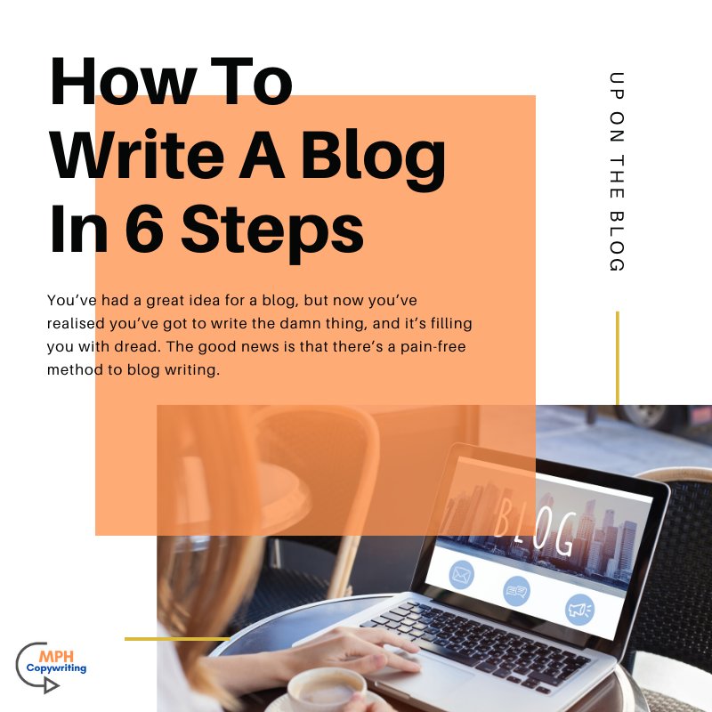Photo of a laptop with words saying 'how to write a blog in six steps'.