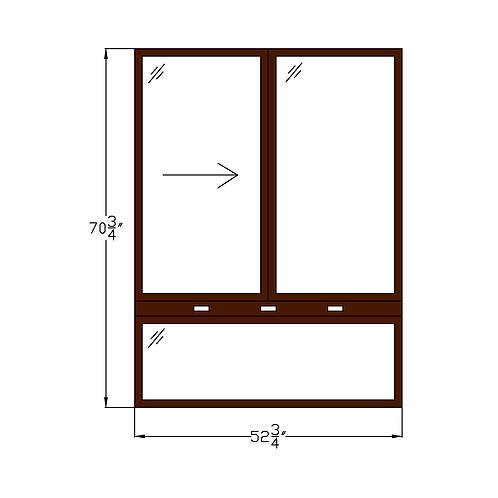 """Regency of McLean W1 Sliding Window over Fixed - 52-3/4"""" x 70-3/4"""""""