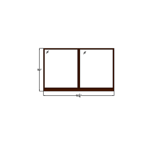 "Skyline Square W5 Fixed Picture Window - 92-1/4"" x 56"""
