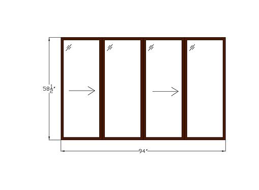 "Woodlake Towers W1 (Twin) Twin Sliding Window 95-1/4"" x 58-1/2"""