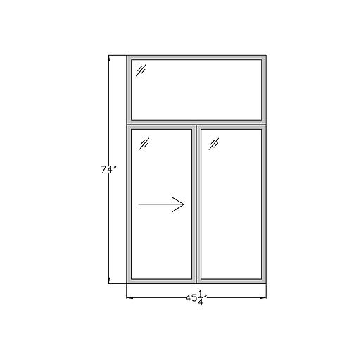 """Penthouse W1 Sliding Window with Transom - 45-1/4"""" x 74"""""""