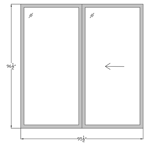 "Penthouse P2 Sliding Glass Door - 95-1/2"" x 96-1/2"""