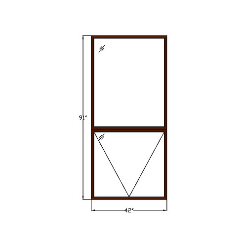 "Representative G Fixed Picture Window over Hopper - 42"" x 91"""