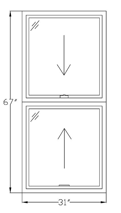 "Wardman Court W1 Double Hung Window - 31"" x 67"""