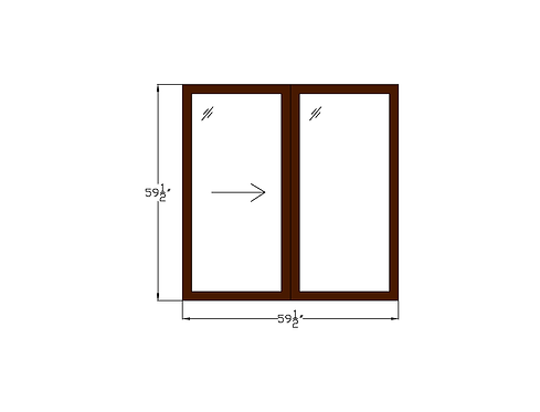 Tower Villas W1 Sliding Window - 59-1/2 x 59-1/2""