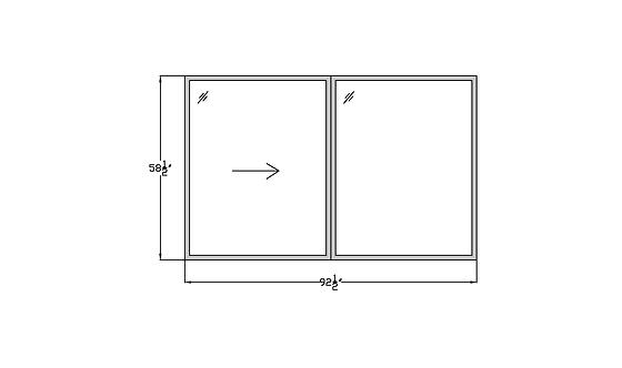 """Fountains W4 Sliding Window - 92-1/2"""" x 58-1/2"""""""