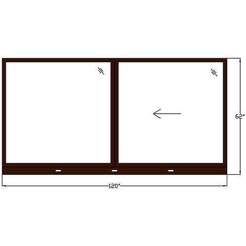 "Skyline House W4 Sliding Window - 120"" x 62"""