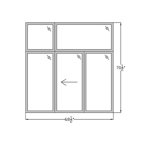 """Penthouse W4 Sliding Window with Transom - 68-1/2"""" x 70-1/2"""""""