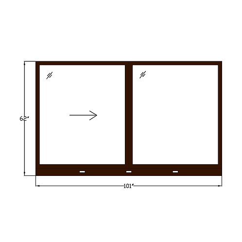 "Skyline House W3 Sliding Window - 101"" x 62"""