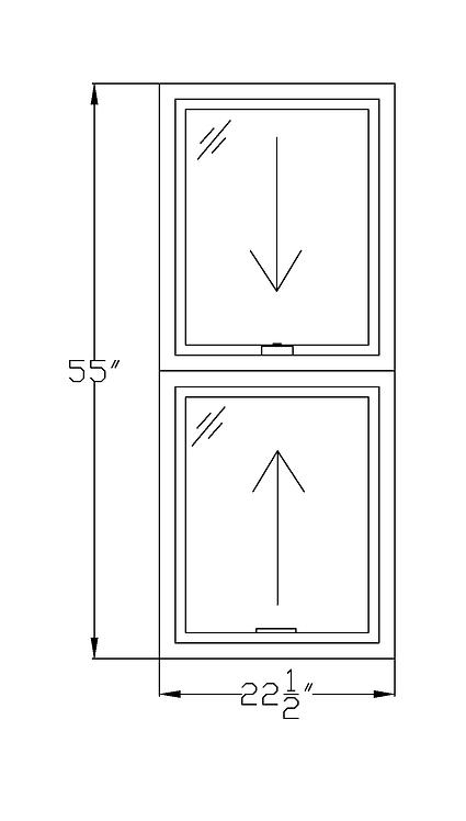 "Wardman Court W2 Double Hung Window - 22-1/2"" x 55"""