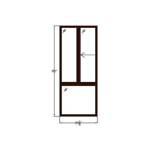 "Greenhouse W3 Sliding Window over Fixed - 39-1/2"" x 95"""