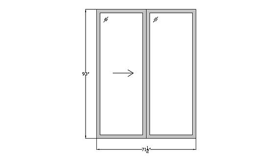 "Fountains P2 Sliding Glass Door - 71-1/2"" x 93"""