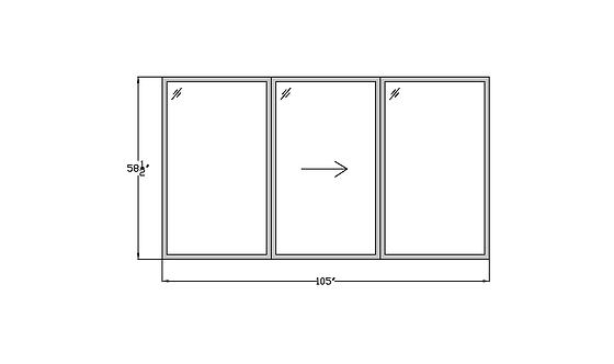 """Fountains W2 Sliding Window - 105"""" x 58-1/2"""""""