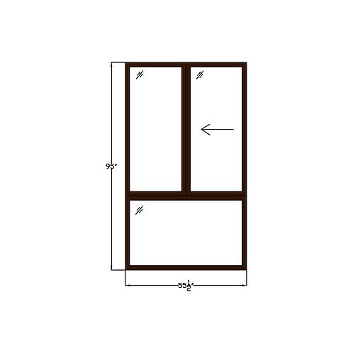 "Greenhouse W1 Sliding Window over Fixed - 55-1/2"" x 95"""