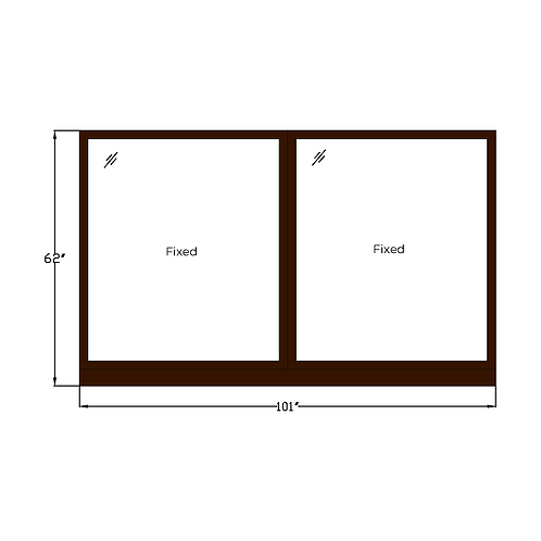 "Skyline House W2 Twin Fixed Picture Window - 101"" x 62"""