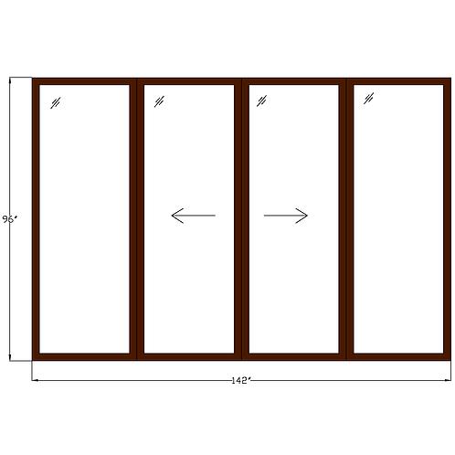 "Representative P2 Sliding Glass Door - 142"" x 96"""
