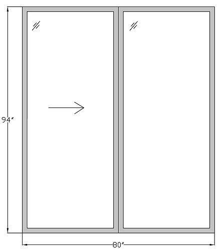 """Marina Towers PD1 Sliding Glass Door - 80"""" x 94"""""""