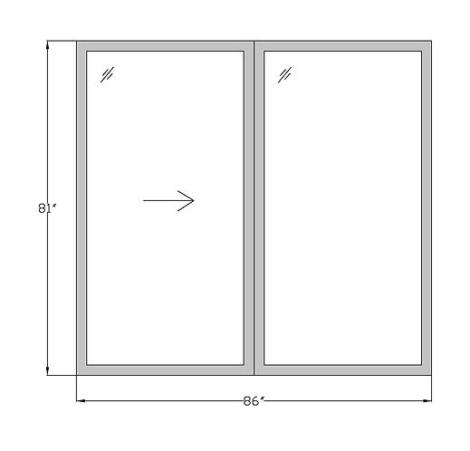 "Parkside Plaza PD1  Sliding Glass Door - 86"" x 81"""