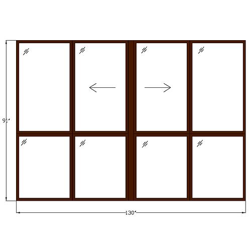 "Representative EE Twin Sliding Window over Twin Fixed - 130"" x 91"""