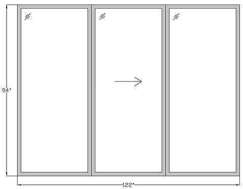 """Marina Towers PD2 Sliding Glass Door - 122"""" x 94"""""""