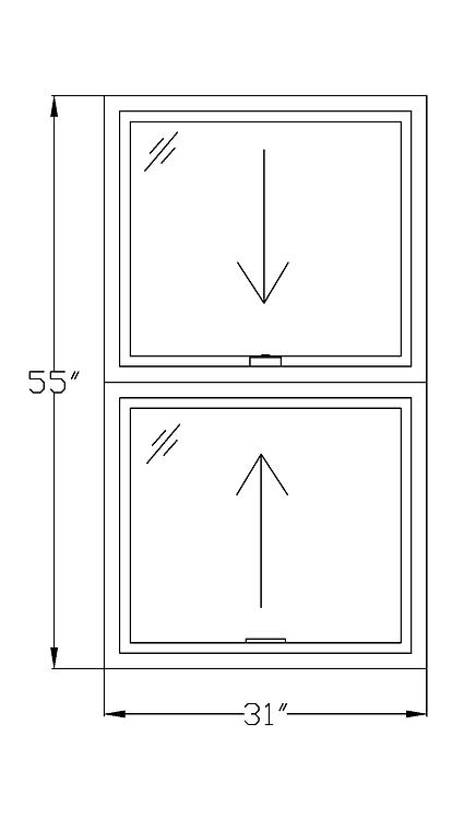 "Wardman Court W4 Double Hung Window - 31"" x 55"""