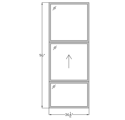"""Parkside Plaza W1 Single Hung Stacked Over Fixed - 36-1/2"""" x 96"""""""