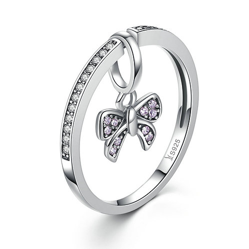 Pink Sparkling Butterfly, Stackable Ring