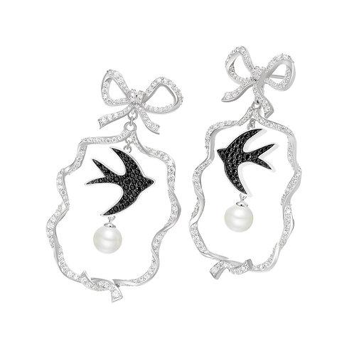 Swallow Bird, Sparkling Knots, Drop Earrings