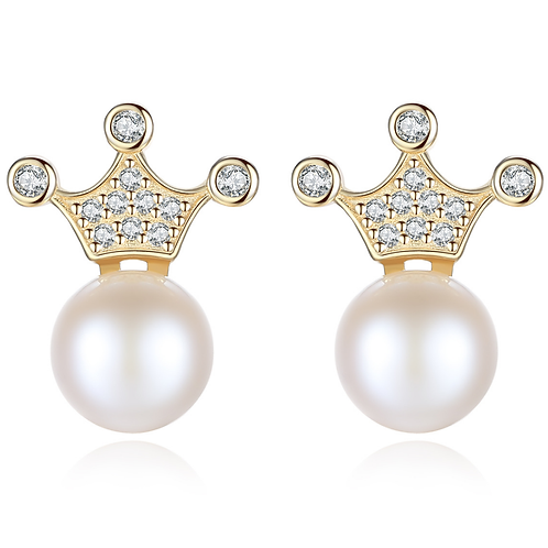 Yellow Gold Plated Crown Pearl Earrings