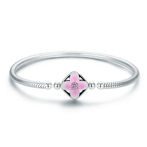 Pink Enamel Cherry Flower, Silver Bracelet