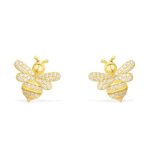 Yellow Silver Bumble Bee Stud Earrings