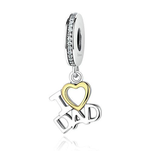 """I love my dad"" , Silver Pendant"