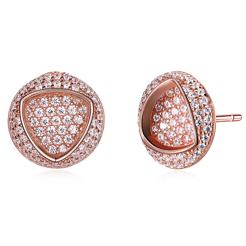 Rose Gold Sterling Fashion Round Stud Earrings