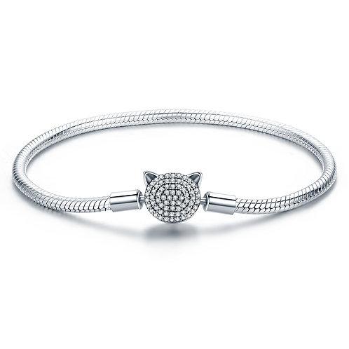 Pavé Hello Kitty Head, Silver Bracelet