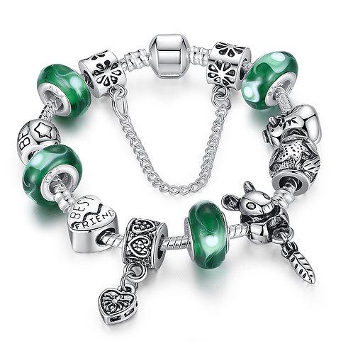 Silver Bunny Green Charm Bracelet
