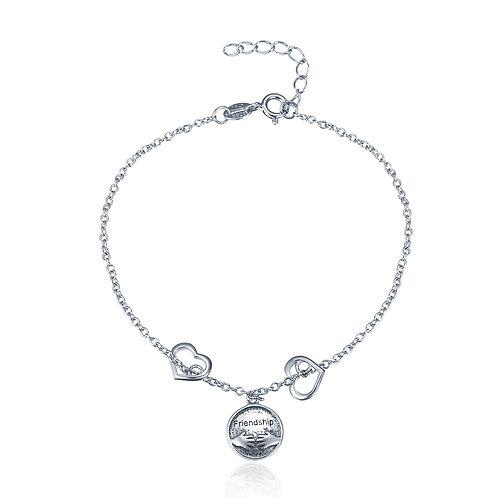 Friendship Pendant, Slider Silver Bracelet
