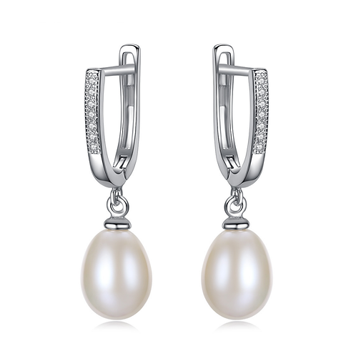 Bridal White Pearl Earrings, white gold plated sterling silver