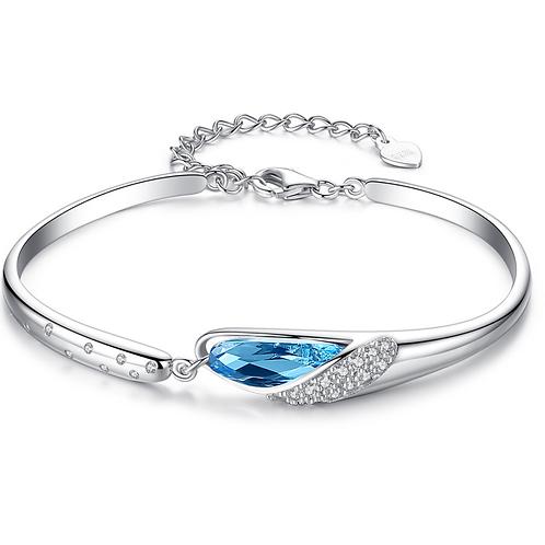 Austria Blue Crystal Sterling Silver Bracelet