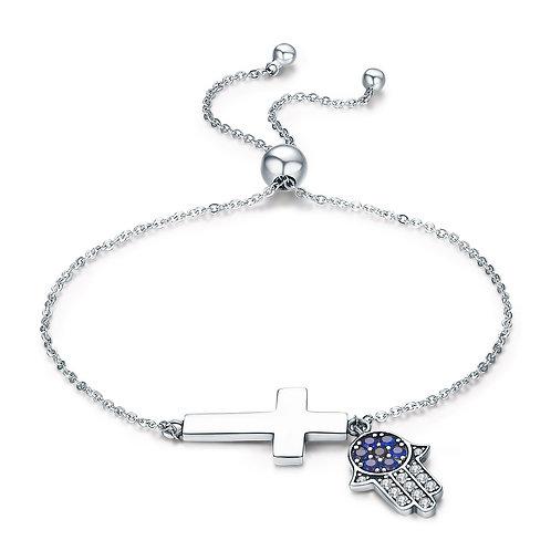 Cross & Hamsa, Slider Silver Bracelet