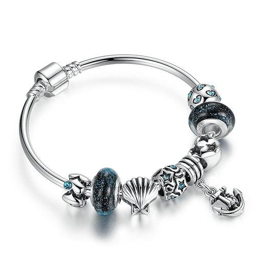 Silver Anchor Dangle Charm, Aqua Blue Theme Bracelet